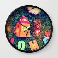 home sweet home Wall Clocks featuring HOME by Julia Kovtunyak