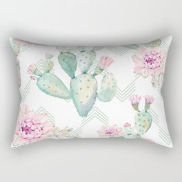Cactus Chevron Southwestern Watercolor Rectangular Pillow