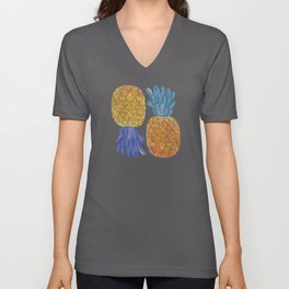 BFFs / Pineapple Watercolor Collage Unisex V-Neck