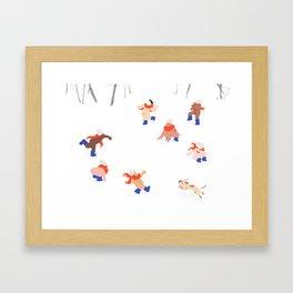 Nudist Snowball Fight Framed Art Print