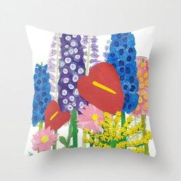Delphiniums & Anthuriums Throw Pillow