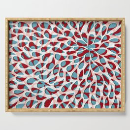 Organic Petals Pattern Red Blue Serving Tray