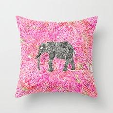 Pink Safari   Tribal Paisley Elephant Henna Pattern Throw Pillow