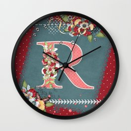 Country Charm Monogram Letter R Wall Clock