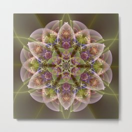 Fantasy flower with tribal patterns Metal Print