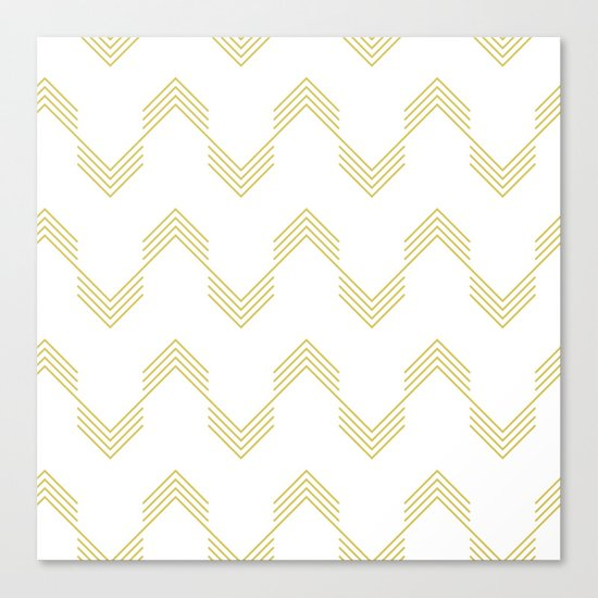 Simply Deconstructed Chevron Mod Yellow on White Canvas Print