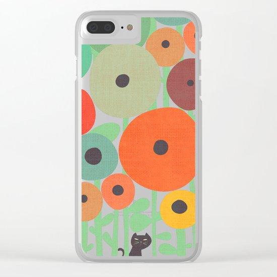 Cat in flower garden Clear iPhone Case