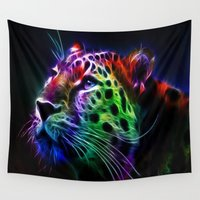 spiritual Wall Tapestries featuring Spiritual Leopard by Hyperhamster