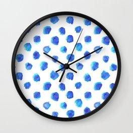 Watercolor Tie Dye Dots in Indigo Blue Wall Clock