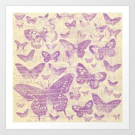 purple, vintage, butterflies, parchment Art Print