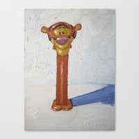 tigger Canvas Prints featuring tigger by nicole newsted
