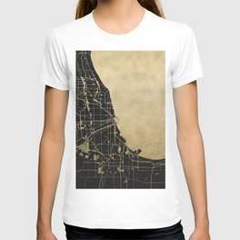 Chicago Black and Gold Street Map T-shirt