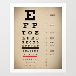 Vintage Inspired Eye Chart - Visual Acuity - Vintage Eye Chart - Distressed Canvas Textured Art Print
