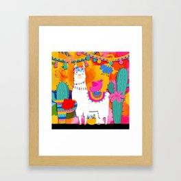 Fiesta Llama Framed Art Print