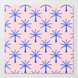 Modern Tropical Print Indigo Blue Palm Trees Pattern  Canvas Print