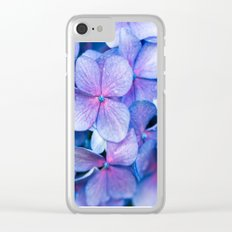 Hydrangea Flowers : Periwinkle Blue Lavender Pink Clear iPhone Case