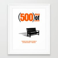 500 days of summer Framed Art Prints featuring 500 Days Of Summer by FunnyFaceArt