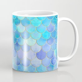 Aqua Pearlescent & Gold Mermaid Scale Pattern Coffee Mug