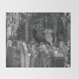 Crow In Shades Of Stone Throw Blanket