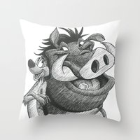 hakuna Throw Pillows featuring Hakuna Matata! by Jack Kershaw