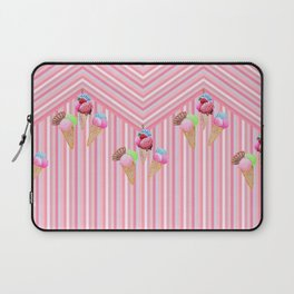 Ice cream stripes , pink, mint and aqua Laptop Sleeve
