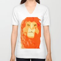 simba V-neck T-shirts featuring Simba by Makayla Wilkerson