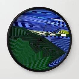 Striped landscap with stylised mountains, sea and yellow Sun. Wall Clock