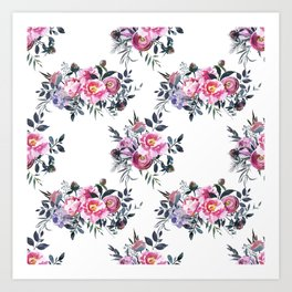 Sophisticated Pink and Gray Floral bouquets on White  Art Print