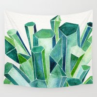 emerald Wall Tapestries featuring Emerald Watercolor by Cat Coquillette