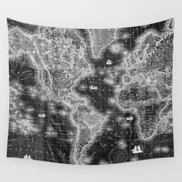 Black and White World Map (1852) Inverse Wall Tapestry