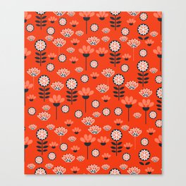 Whimsy wildflowers in red Canvas Print