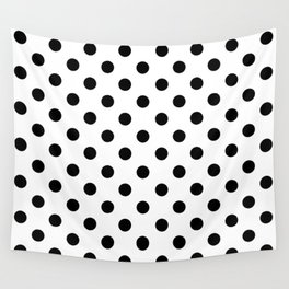 Polka Dots (Black & White Pattern) Wall Tapestry