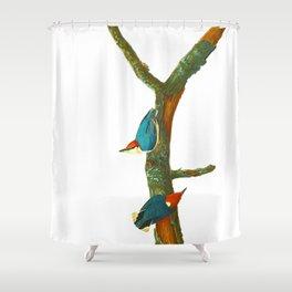 Turquoise Bird Shower Curtain