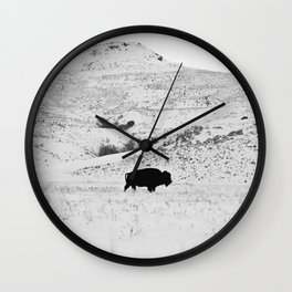 Black and White Bison Wall Clock