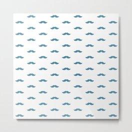 Blue Mustache pattern Metal Print