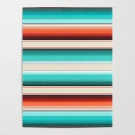 Navajo White, Turquoise and Burnt Orange Southwest Serape Blanket Stripes Poster