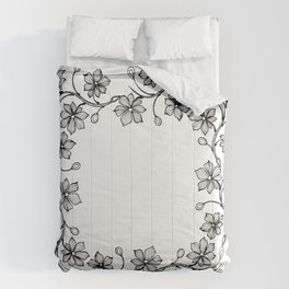 Black and White Floral Wreath Lineart Comforters