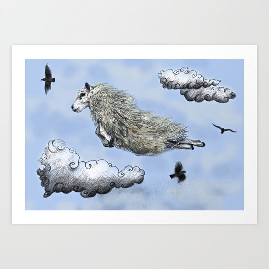 Flying sheep Art Print