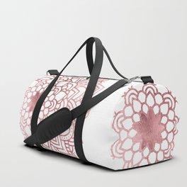 Elegant faux rose gold floral mandala Duffle Bag