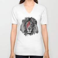 david bowie V-neck T-shirts featuring David Bowie Lion by Urban Exclaim Co.