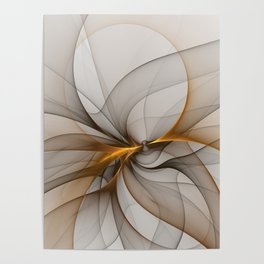 Elegant Chaos, Abstract Fractal Art Poster