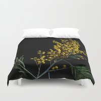 soviet Duvet Covers featuring Silver Wattle Flowers by digital2real