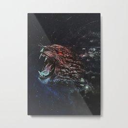 Lion Red Stone Metal Print