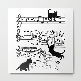 Cat Music Notes Clef Cats Lover Metal Print