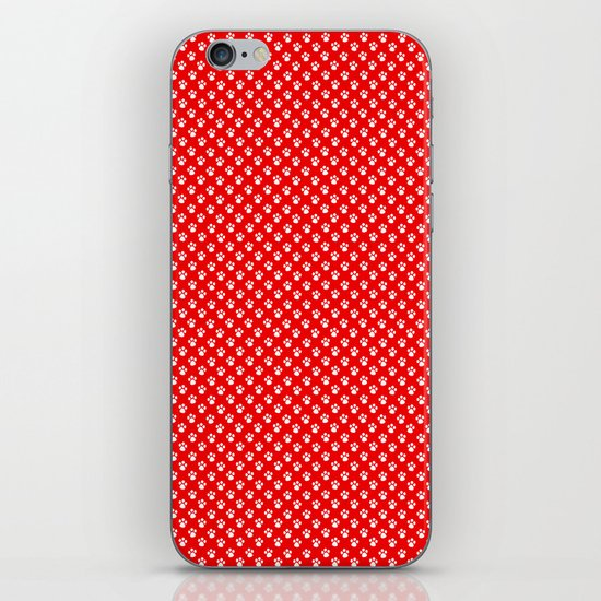 Tiny Paw Prints Pattern - Bright Red & White by denidesigns