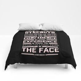 Lab No. 4 Strength Does Not Come Arnold Schwarzenegger Motivational Quote Comforters