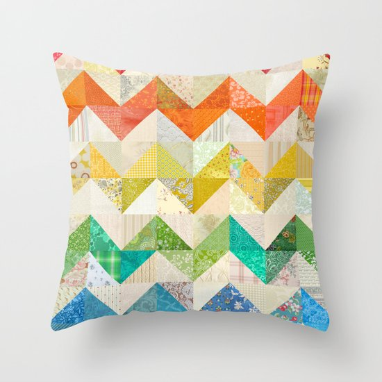 Chevron Rainbow Quilt Throw Pillow