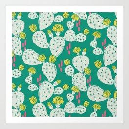 Yellow Flowering Cactus on Emerald Art Print