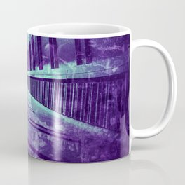 Full moon over pedestrian bridge - teal grunge artwork Coffee Mug