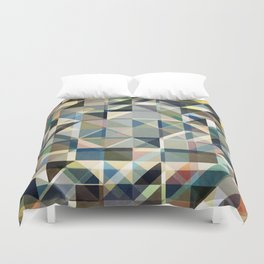 Abstract Earth Tone Grid Duvet Cover